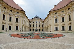 Kasteel en stad Slavkov, Moravië, Tsjechische republiek, Europa royalty-vrije stock foto