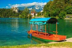 Kasteel en traditionele houten boot op Afgetapt Meer, Slovenië, Europa Stock Foto's