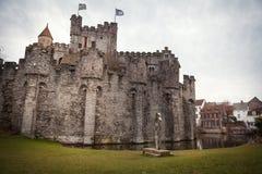 Kasteel Gravensteen Vlaanderen, Mijnheer, België Royalty-vrije Stock Fotografie