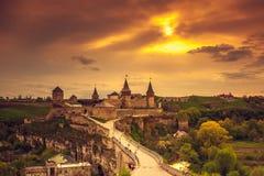 Kasteel kamianets-Podilskyi Royalty-vrije Stock Afbeeldingen