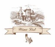 Kasteel met druivengebieden schets Gevormde banner Het menu van de wijnlijst inschrijving Vector illustratie royalty-vrije illustratie