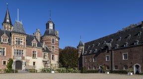 Kasteel Mheer, privé landgoed in Zuid-Limburg Het kasteeldomein is onlangs geclassificeerd als landgoed stock afbeelding