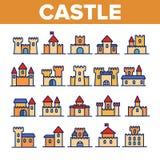 Kasteel, Middeleeuwse Geplaatste Gebouwen Lineaire Vectorpictogrammen royalty-vrije illustratie