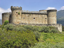 Kasteel Mombeltran, metaalzaag van Gredos, Spanje stock afbeelding