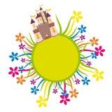 Kasteel op de bloemcirkel Stock Illustratie
