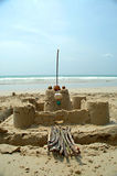 Kasteel op het strand stock foto