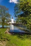 Kasteel Ort, Brug en traunsee-Gmunden, Oostenrijk Royalty-vrije Stock Afbeelding