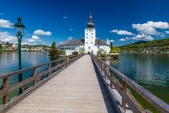 Kasteel Ort, Brug en traunsee-Gmunden, Oostenrijk Royalty-vrije Stock Fotografie