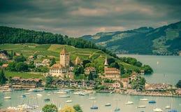 Kasteel in Spiez Zwitserland Royalty-vrije Stock Foto's