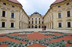 Kasteel, stad Slavkov, Tsjechische republiek, Europa royalty-vrije stock afbeeldingen