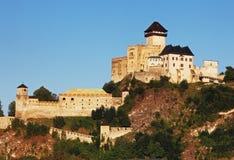 Kasteel Trencin, Slowakije stock foto's