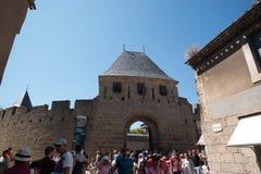 Kasteel van Carcassonne, hoofdingangspoort Royalty-vrije Stock Afbeeldingen