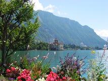 Kasteel van Chillon op Meer Genève Stock Foto
