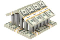 Kasteel van geld dat op wit wordt geïsoleerde Royalty-vrije Stock Foto's