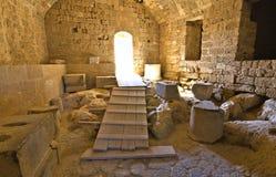 Kasteel van Lindos in Rhodos, Griekenland stock foto's