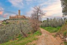 Kasteel van Montecchio Vesponi in Castiglion Fiorentino, Arezzo, T Stock Foto's