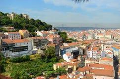 Kasteel van Sao Jorge, Lissabon, Portugal Stock Afbeeldingen