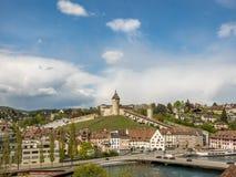 Kasteel van Schaffhausen in Zwitserland stock afbeeldingen