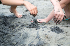 Kasteel van zwart zand Stock Foto