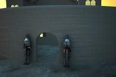 Kasteel in zonsonderganglicht met pantsers ter verdediging van deur stock illustratie