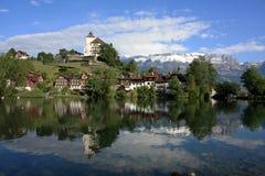 Kasteel in Zwitserland stock foto