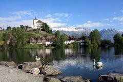 Kasteel in Zwitserland stock afbeelding