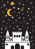 Kasteelmaan, sterren, planeten royalty-vrije illustratie