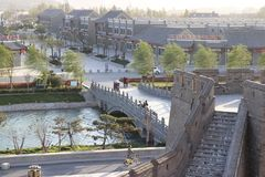Kasteelstijl van oude Chinese architectuur stock afbeelding