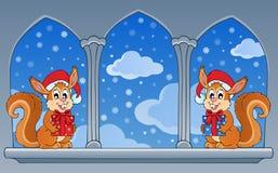 Kasteelvenster met Kerstmisthema Stock Afbeeldingen