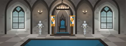 Kasteelzaal Middeleeuws paleis met koninklijk decor en meubilair Binnenland met eettafel, troon Beeldverhaalvector royalty-vrije illustratie