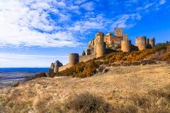 Kastelen van Spanje - Loare in Aragon stock afbeelding