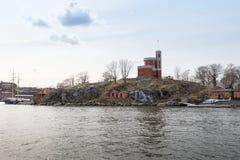 Kastellholmen från havet i Stockholm Arkivfoto