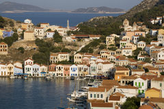 Kastellorizo harbour, colorful houses Stock Images