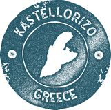 Kastellorizo map vintage stamp. Retro style handmade label, badge or element for travel souvenirs. Blue rubber stamp with island map silhouette. Vector Royalty Free Stock Photography