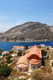 Kastellorizo-Megisti Greece. The church of Saint Anargirie over the harbor Stock Photo