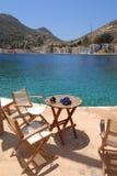 Kastellorizo-Megisti- Greece. Coffee bar by the sea Stock Photo
