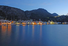 Kastellorizo-Megisti Greece. The only settlement on island, the homonym kastellorizo, is around the natural harbor Royalty Free Stock Image