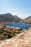 Kastellorizo-Megisti Greece. The settlement is preservable and are within the natural harbor Royalty Free Stock Images