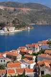 Kastellorizo-Megisti Greece. Two storey houses at the harbor entrance Stock Photography