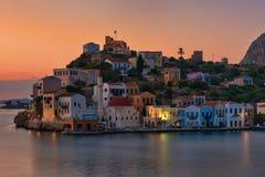 Kastellorizo sunrise , Greek island at dodecanese. Kastellorizo summer sunrise , dodecanese island royalty free stock images