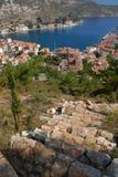 Kastellorizo-Megisti Greece. The settlement of the hill Stock Photography