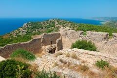 Kastelos废墟 罗得岛,希腊 库存照片