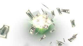 Kasten öffnet sich - hundert Dollarscheine fliegen heraus vektor abbildung