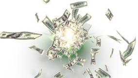 Kasten öffnet sich - hundert Dollarscheine fliegen heraus stock abbildung