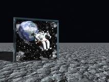 Kasten auf Mond wie Oberfläche enthält Astronauten vektor abbildung