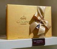 Kasten belgische Schokoladen Godiva mit einem Preis von dolari 130 Stockbild