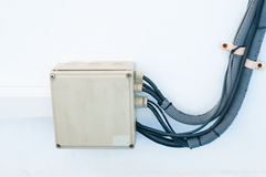 Kasten der elektrischen Leitung in einem Boot Stockbilder