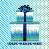 Kasten für Geschenk mit blauem Bogen Stockfoto