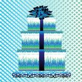 Kasten für Geschenk mit blauem Bogen Stockbild