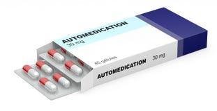 Kasten mischt Selbstmedikation Drogen bei Stock Abbildung